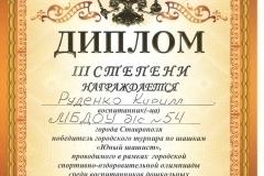 грамота шашки 3 место 2019